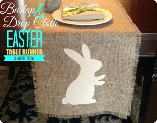 Easter Crafts ~ Burlap and Drop Cloth Bunny Table Runner {Pier 1 Knock Off}