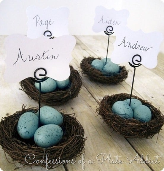 Easter Crafts ~ Make these Pottery Barn Knock Off Nest Place Card Holders in five minutes using a hot glue gun!