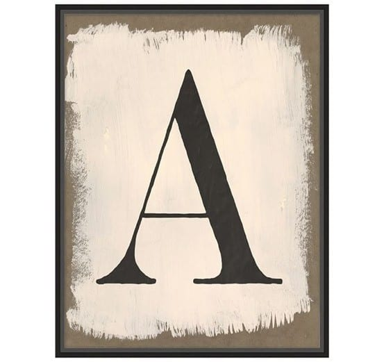 Painted Type Letter Prints from Pottery Barn