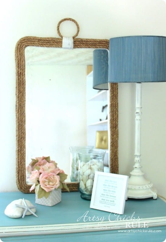 Ballard Design Knock Off Nautical Rope Mirror ~ This mirror was made for only $9 using a thrifted mirror and rope!