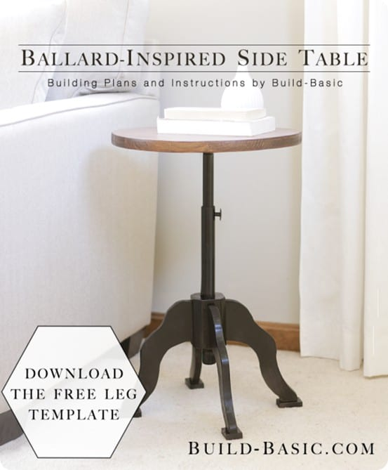 Ballard Designs Inspired Side Table ~ Follow this simple tutorial to make your own using a pre-cut wood round and black pipes from the home improvement store!