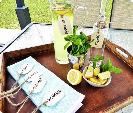 Ballard Designs Knock Off Beverage Tags ~ If you are planning a get-together, you are going to want to whip up a set of these tags using only three materials in 15 minutes!