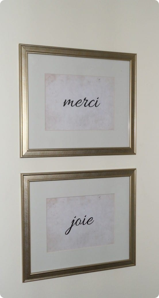 Ballard Designs Knock Off French Script Wall Art ~ This DIY wall art was made using dollar store frames. Download the free images to make your own!