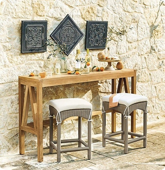 Outdoor bar console and counter stools for Ballard furniture stores