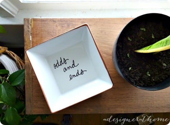 Check out this simple tutorial for recreating a Kate Spade jewelry dish using a thrift store dish!