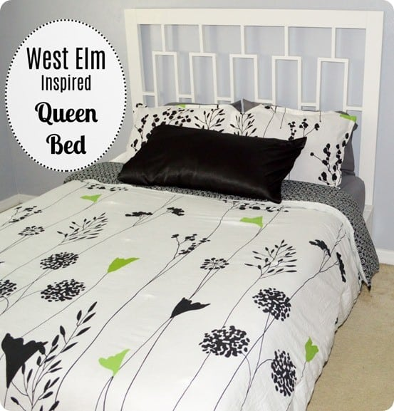 DIY Furniture ~ Get the free woodworking plans to build this queen size headboard inspired by West Elm!