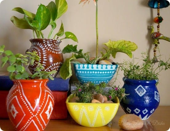 DIY Home Decor ~ Handpainted Garden Pots Inspired By Anthropologie
