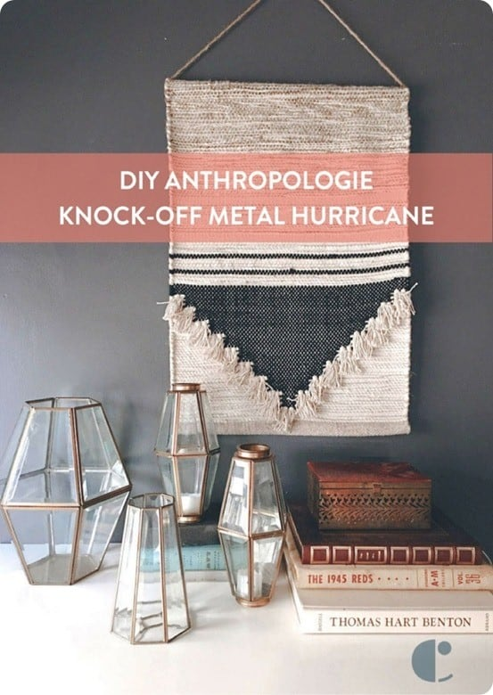 DIY Home Decor ~ Turn brass light fixtures from the 80s into Anthropologie knock off hurricanes!