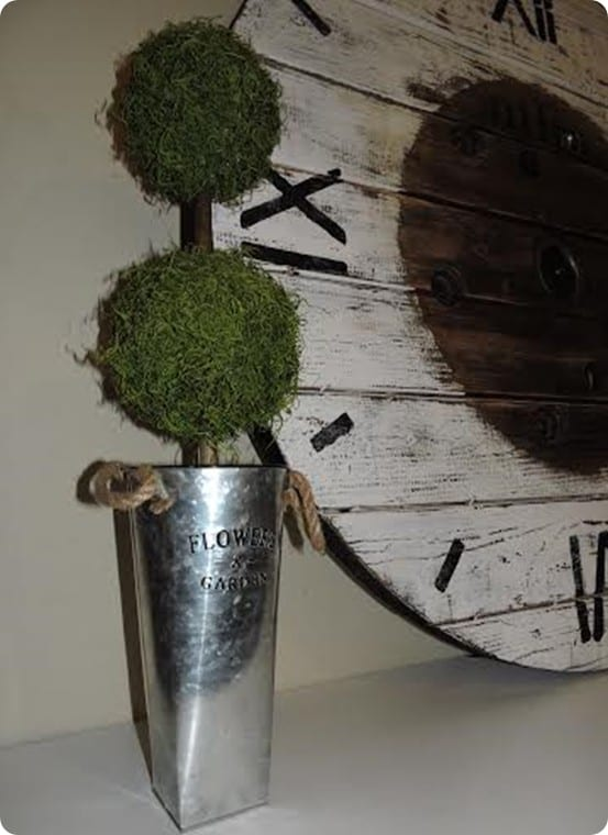 DIY Moss Topiaries ~ Follow this tutorial to make your own Ballard Designs inspired topiaries using a few items from the craft store!