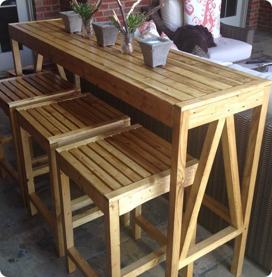 DIY Outdoor Bar Console and Stools ~ Get the free plans to build these outdoor counter stools which were inspired by Ballard Designs!