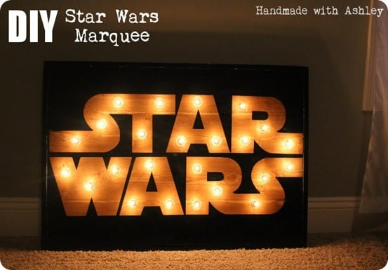 DIY Star Wars Wall Art ~ Make your own Star Wars marquee with working lights with this tutorial!