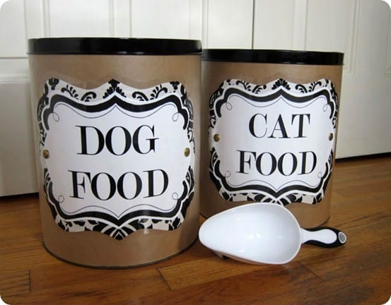 DIY Storage Ideas ~ Repurpose popcorn tins into stylish storage containers for your pets' food with these free printable labels!