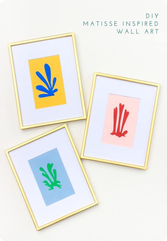 DIY Wall Art ~ Make your own artwork similar to that of Matisse by cutting shapes out of construction paper and then gluing them into another sheet of construction. It's simple enough anyone can do it!
