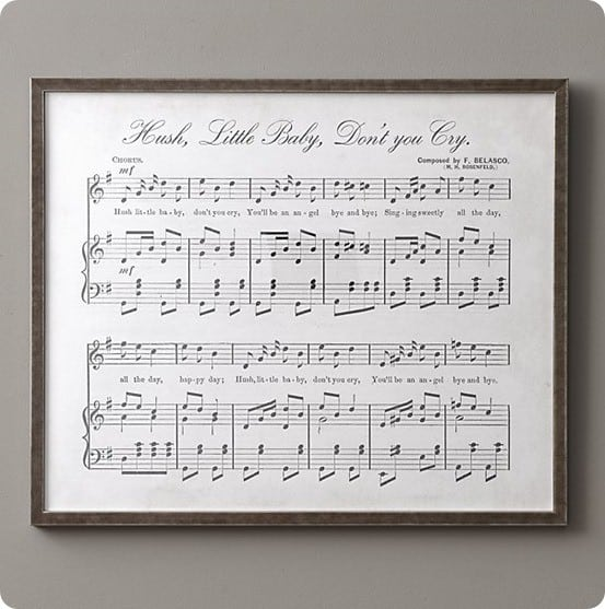 Hush Little Baby Antique Sheet Music from RH Baby & Child