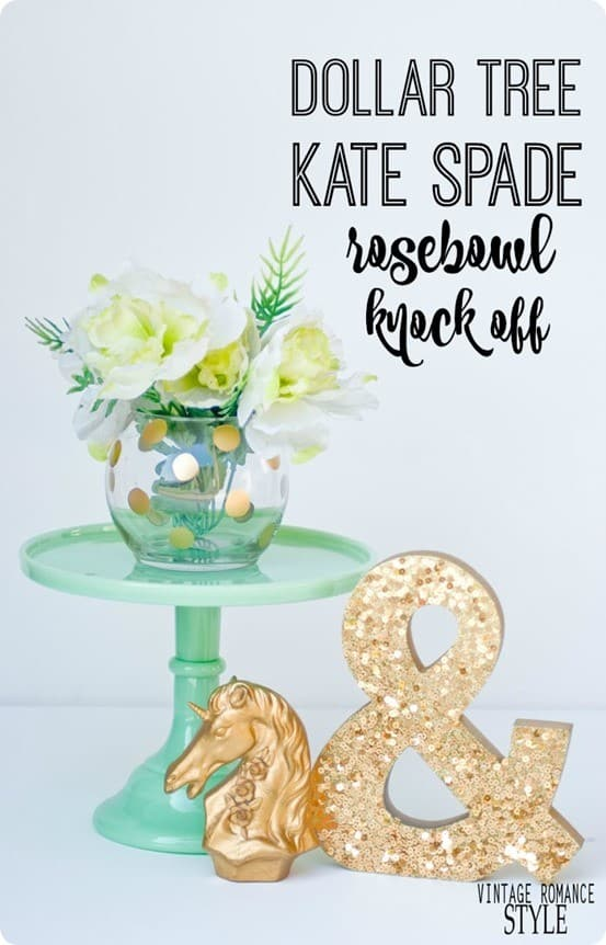 Kate Spade Knock Off Rose Bowl ~ This is so simple to make using a vase from the dollar store and a gold paint pen!
