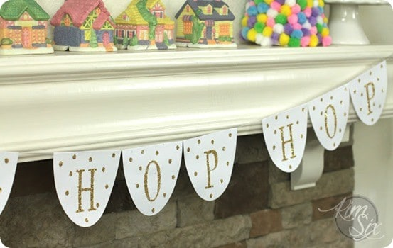 Pottery Barn Kids Knock Off Easter Banner ~ All you need is cardstock and glitter to knock off this sparkly banner from Pottery Barn. Get the free Silhouette cut file!