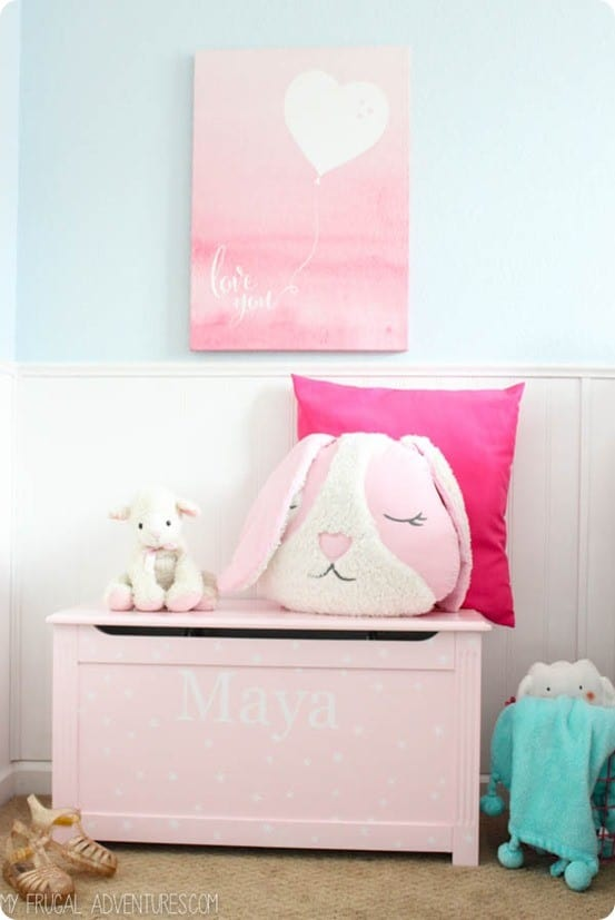 Pottery Barn Kids Knock Off Toy Box ~ I love the personalization and addition of vinyl stars!
