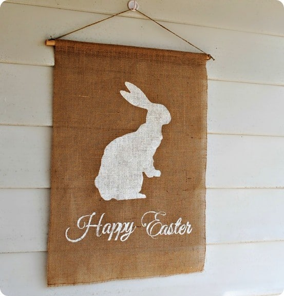 Pottery Barn Knock Off Easter Flag ~ You can make this large flag in less than an hour for only about $10!