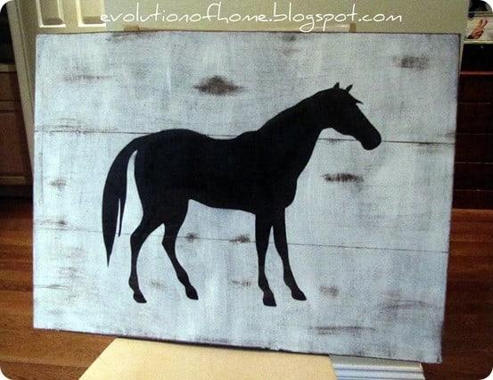 Pottery Barn Knock Off Horse Art
