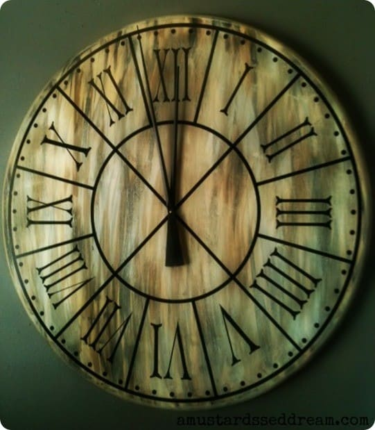 Restoration Hardware Knock Off Wall Clock ~ This gigantic clock was made from a 3-foot wood tabletop!