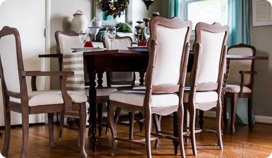 Reupholstered Dining Room Chairs ~ These garage sale chairs were transformed into Restoration Hardware look-a-likes with paint, stain, and drop cloth!