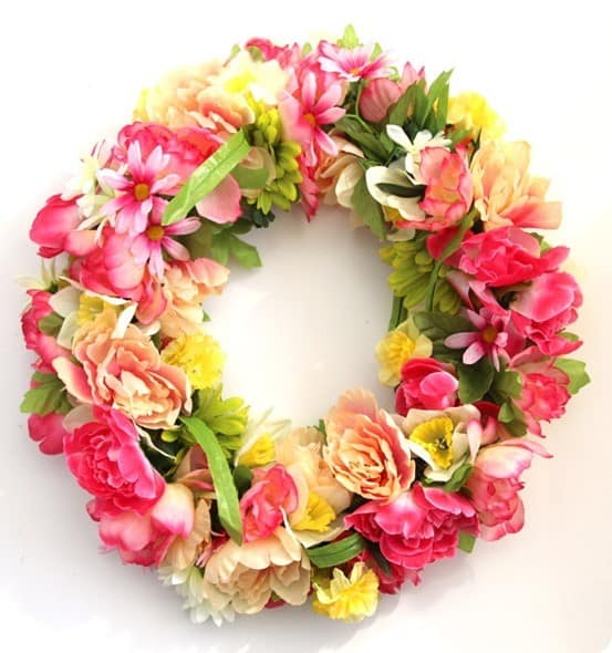 Spring Wreath Craft ~ Make a floral spring wreath that's bursting with color using dollar store stems!