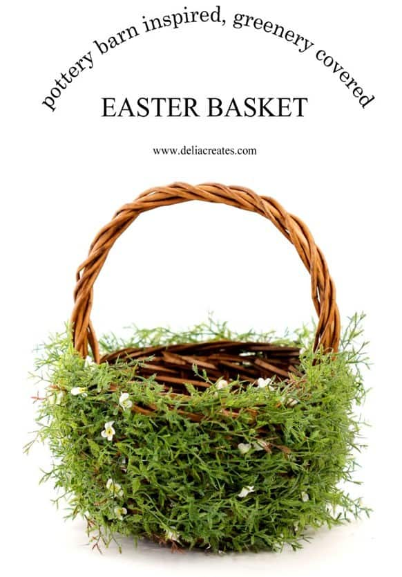 This Pottery Barn inspired Easter basket is SO simple to make and simply darling! All you need are greenery stems and a hot glue gun!
