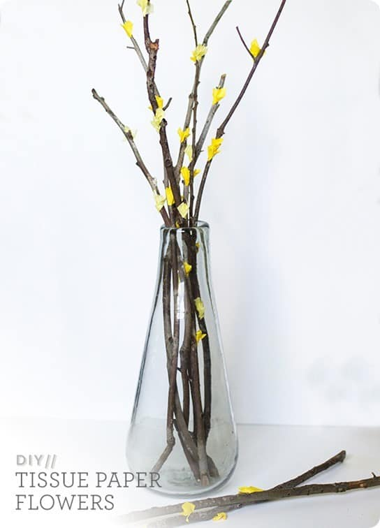 West Elm Inspired Paper Flower Branches ~ These are so simple to make using branches from your yard and tissue paper. And, of course, they're much cheaper than buying fresh flowers!