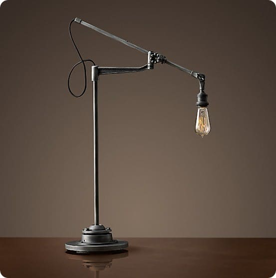 20th C Factory Filament Bare Bulb Task Lamp from Restoration Hardware