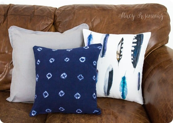 African Mud Cloth Pillow Knock Off ~ Mimic the look of African indigo pillows with tie-dye!