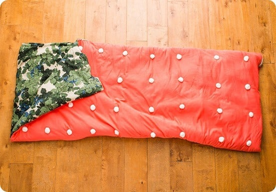 Anthropologie Inspired Sleeping Bag with Pom Poms
