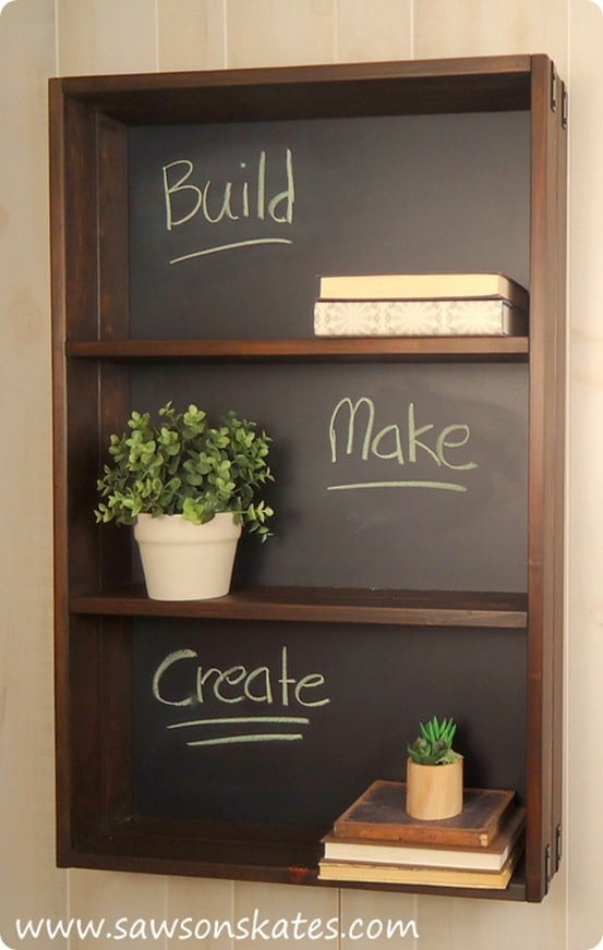 Ballard Designs Knock Off Chalkboard Shelf with FREE Building Plans