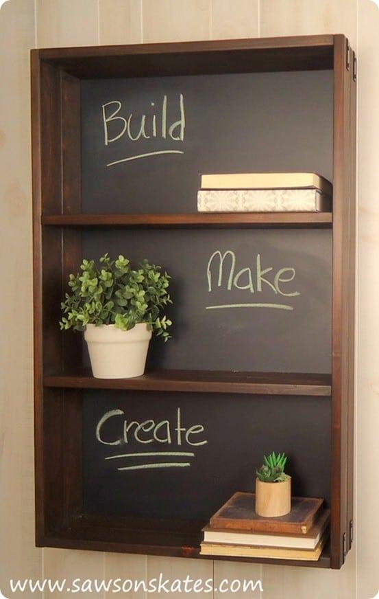 Ballard Designs Knock Off Chalkboard Shelf with FREE Building Plans