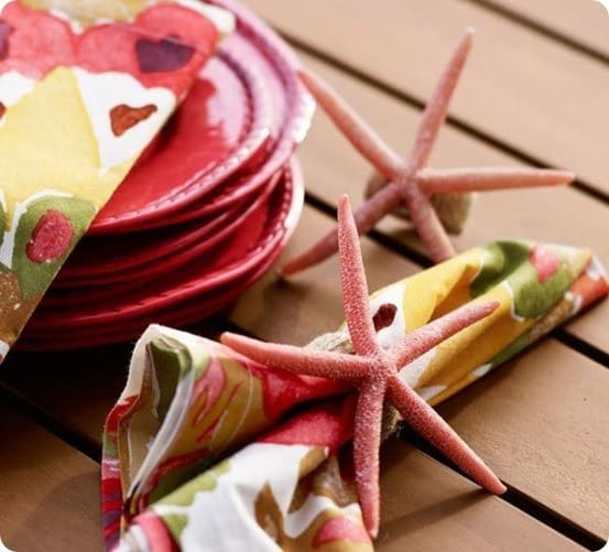 Coral Starfish Resin Napkin Rings