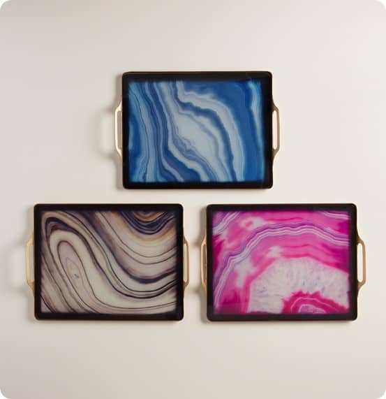 Faux Agate Rectangular Tray from World Market