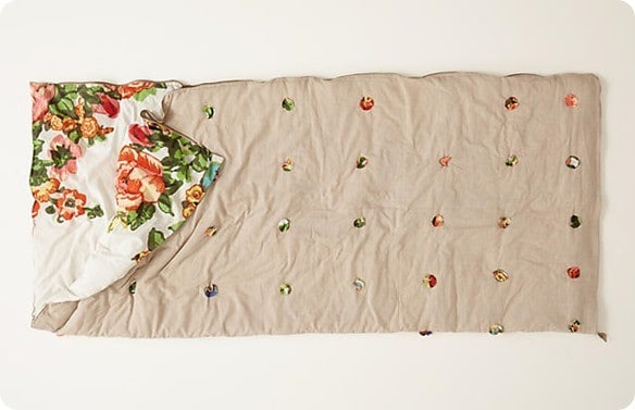 Floral Sleeping Bag With Pom Poms