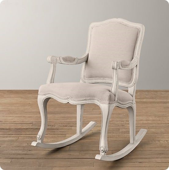 French Vintage Upholstered Rocker from RH Baby & Child