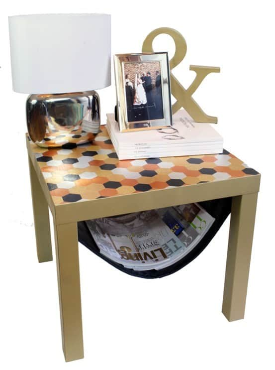 IKEA Lack Hack ~ Wow! This Lack Side Table was transformed with a glam new look and the added function of a magazine holder underneath!