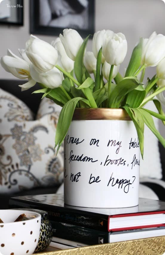 Kate Spade Knock Off Black, White, and Gold Vase