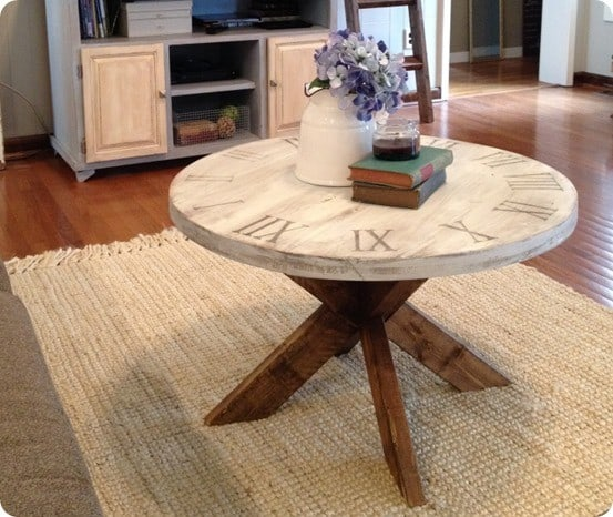 Pier 1 Knock Off Clock Coffee Table ~ I love how unique this table is... and the fact that it only costs about $20 to build!