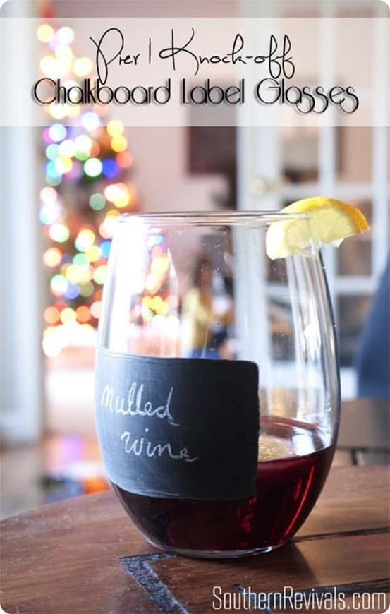 Pier One Knock Off Chalkboard Label Glasses ~ Use chalkboard paint designed for glasses to paint a label onto your glasses. I love this idea for parties, and they're even dishwsher safe!
