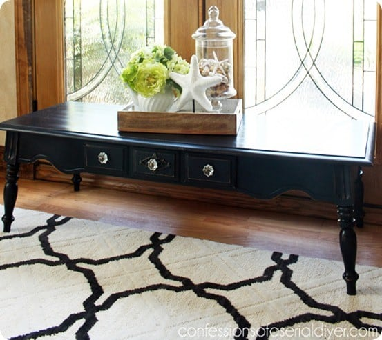Pottery Barn Inspired Coffee Table ~ This yard sale find was made over with homemade chalk paint and new hardware.