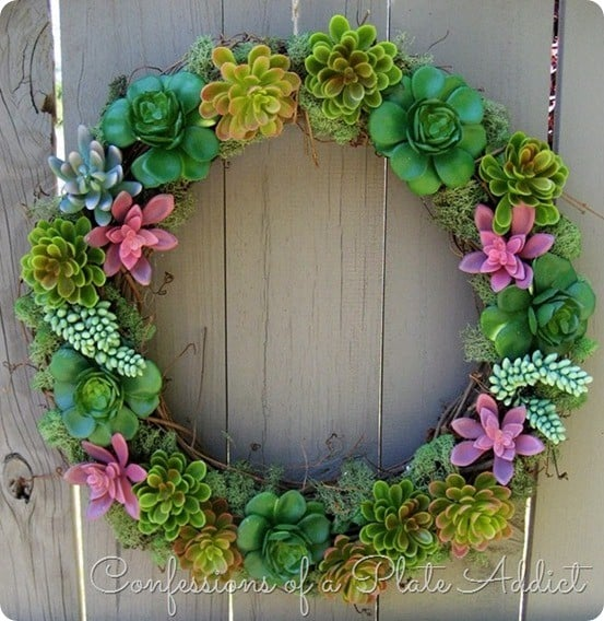 Pottery Barn Inspired Faux Succulent Wreath ~ Made for a fourth the cost using succulents from the dollar store!