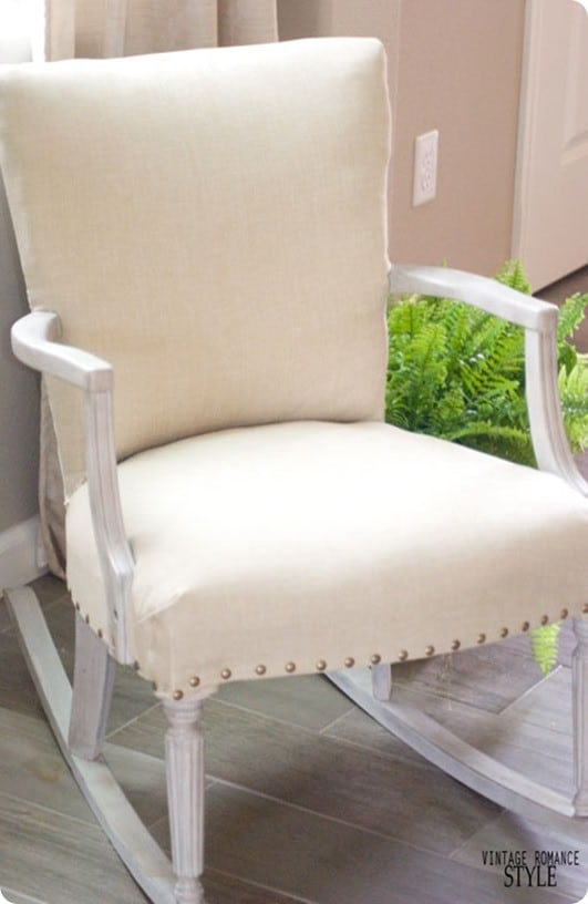 Restoration Hardware Inspired Rocker ~ This $20 estate sale rocking chair was made over with chalk paint, glaze, and new fabric.