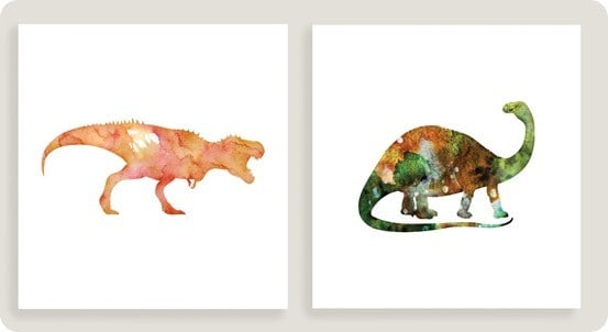 T Rex and Brontosaurus Wall Art Set