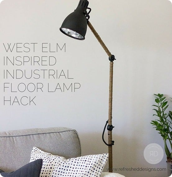 West Elm Industrial Floor Lamp Knock Off ~ This IKEA floor lamps was made over with flat black paint and sisal rope! So simple yet so stunning!