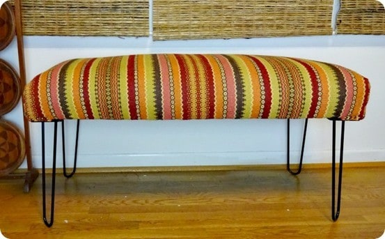 World Market Knock Off Bench ~ Switch out the traditional legs on a bench for hairpin ones to give it a modern look!