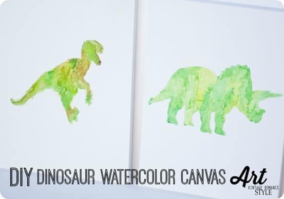 World Market Knock Off Dinosaur Watercolor Art ~ You could use this technique with any shape or design, and it is SO simple! You just need watercolors.