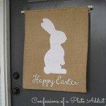 """""""Happy Easter"""" Burlap Bunny Banner"""