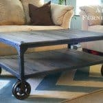 Industrial Wood and Metal Coffee Table with Casters